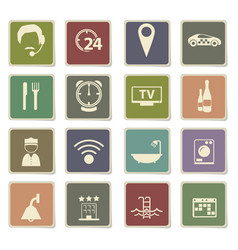 Hotel room services icon set vector