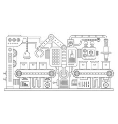 Industrial conveyor belt line outline vector