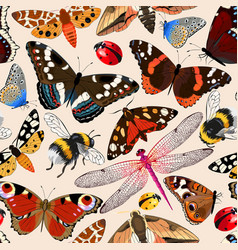 Insects seamless pattern vector