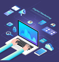 Isometric digital marketing vector