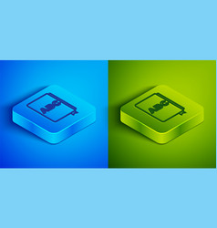 Isometric line abc book icon isolated on blue and vector