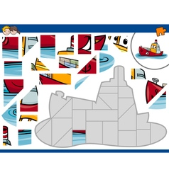Jigsaw puzzle with ship vector