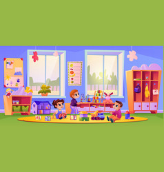 kindergarten children playing toys in classroom vector image