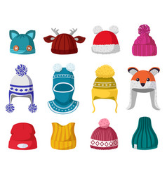 knitted winter hats kids knit warm headwear vector image