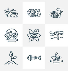 landscape icons line style set with walnut eco vector image