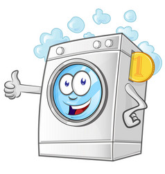 laundry service cartoon with coin vector image