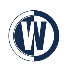 letter w simple negative space logo vector image