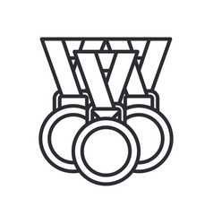 Line olympic medal and winner award icon vector