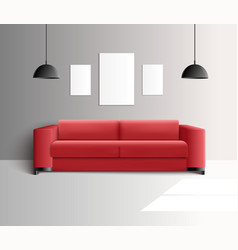 Living room realistic interior vector