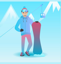 male snowboard character vector image