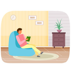 Man with book in his hands spending time vector