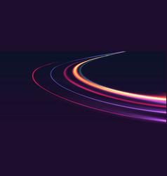 neon lights forming light track on light speed vector image