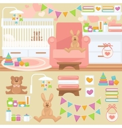 Nursery and baby room interior vector