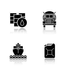 Oil industry black icons set vector image