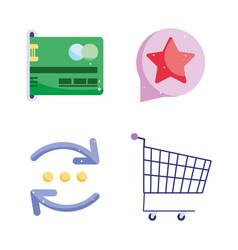 Online payment bank card credit cart transfer vector
