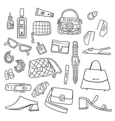 outline hand drawn woman items and accessories vector image