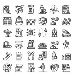 Passport control icons set outline style vector