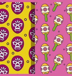 Patterns of wrestling and maracas vector