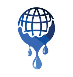 planet flowing down water icon vector image