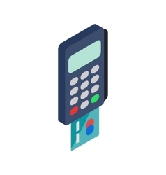 POS terminal icon isometric 3d style vector