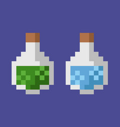potions in glass bottles pixel game art graphics vector image