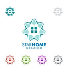 Real estate logo design with star and home vector