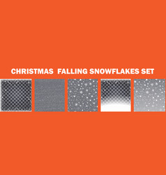 realistic falling snowflakes set isolated on vector image