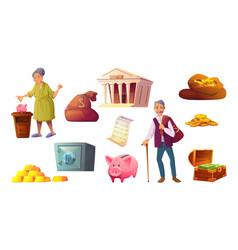 Saving money cartoon icon piggy bank safe deposit vector