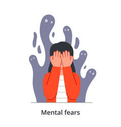 Scared young female character having mental fears vector