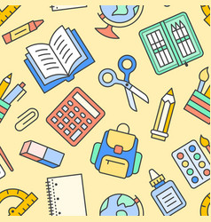school supplies seamless pattern with line icons vector image
