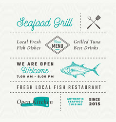 seafood restaurant signs titles inscriptions and vector image