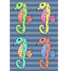 Seahorse cartoon set vector image