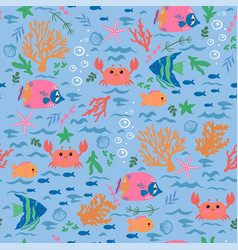 seamless pattern with crabs fish corals algae vector image