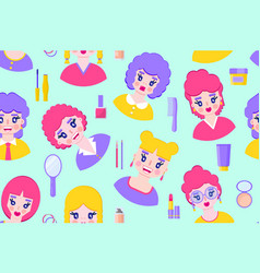 seamless pattern with girls vector image