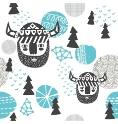 Seamless pattern with vikings faces vector image