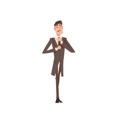 Self confident victorian gentleman character in vector