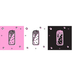 Set burrito icon isolated on pink and white black vector