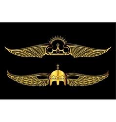 set golden winged crowns logos black background vector image