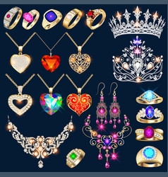 Set jewelry made gold and silver with vector