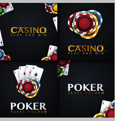Set of casino banners with casino chips and cards vector