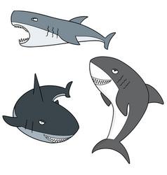 set of sharks vector image
