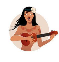 Sexy and tattooed pinup girl singing and playing vector