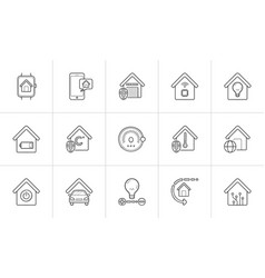 smart home hand drawn outline doodle icon set vector image
