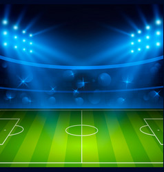 Soccer stadium football arena field with bright vector