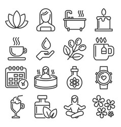 spa and relax icons set on white background vector image