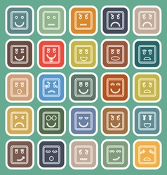 Square face line flat icons on green background vector