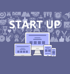 start up poster of outline icons set vector image