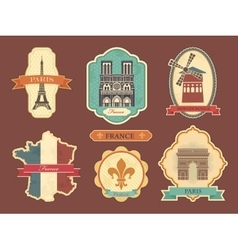 Stickers with symbols of France vector