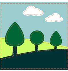 Stitched landscape with trees and clouds vector image