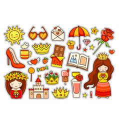 summer colorful stickers set badges patches vector image